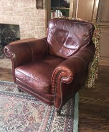 1 of 2 Leather chairs, w/matching Leather couch & w/matching  side chair and ottoman