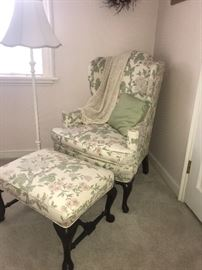 Lovely Queen Anne, Wing chair and foot stool