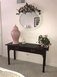 Foyer/Sofa table, mirror, Ginger Jar and Floral