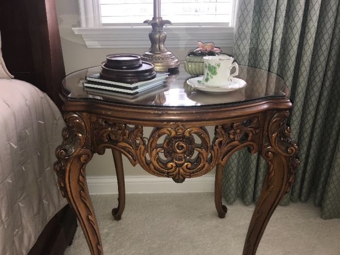 Beautiful antique hand carved side table with protector glass