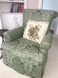 1 of 2 matching arm chairs and matching needlepoint pillows