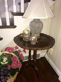 Antique Carved side table, crystal lamp
