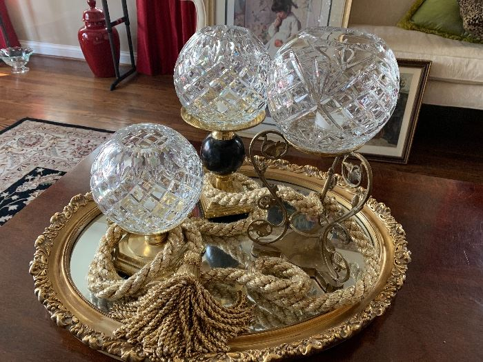 Decor items and tray
