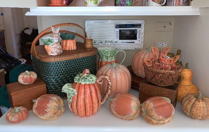 Wonderful vintage picnic basket and a great selection of fall items