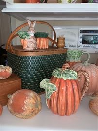 close up of picnic basket and pumpkin pitcher