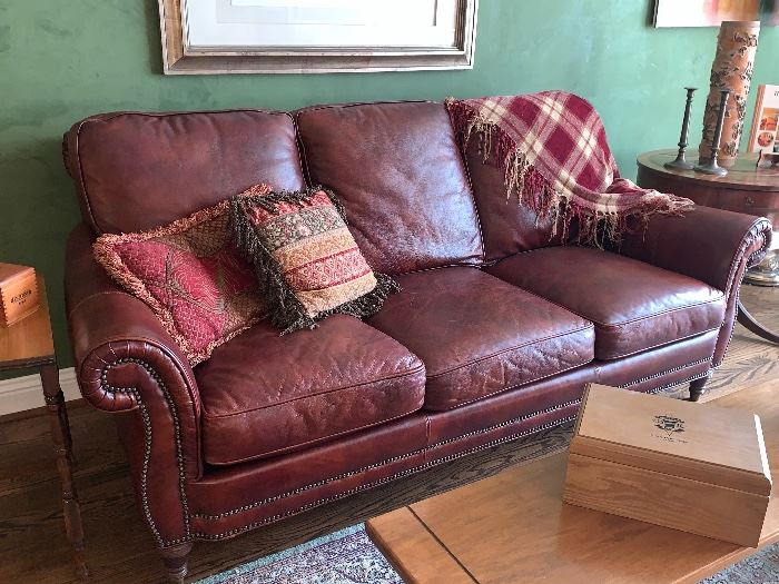 High end Leather couch w/2 matching  side chairs and one ottoman
