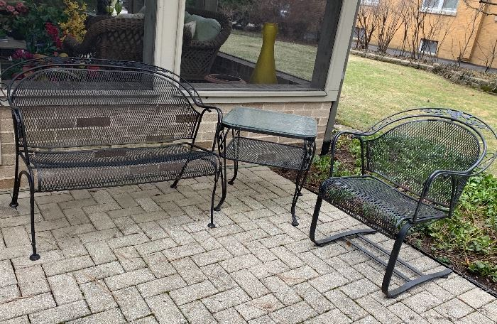 Wrought Iron bench and chair