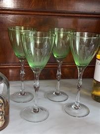 4 Depression Glass Stemware