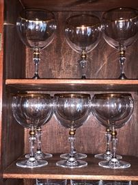 Crystal Stemware w/ gold trim