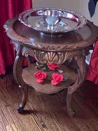Outstanding antique hand carved side table
