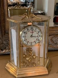 Antique German Kundo Anniversary mantle clock-brass and porcelain face