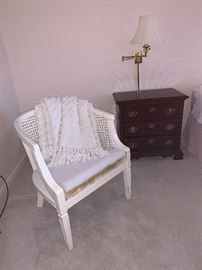 Cane back chair and matching night stands