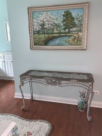 Solid, beautiful Wrought Iron and glass, Foyer/Sofa table