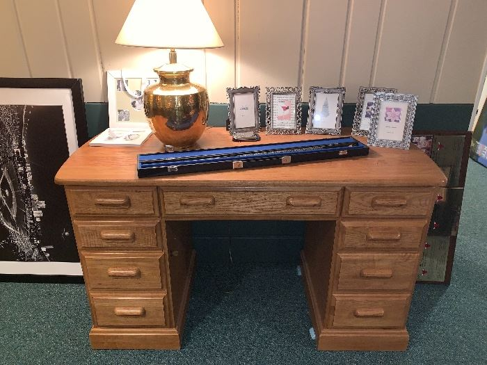 Oak desk-Staged items