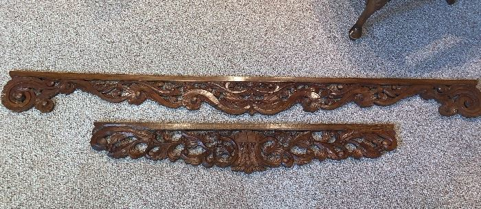 Decorative wood carved wall shelves