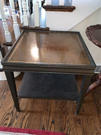 Vintage leather top end table