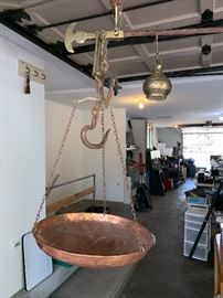 Wonderful vintage hanging scale w/copper bowl