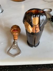 Vintage wooden waiter bottle opener