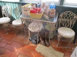 metal & glass table & chairs