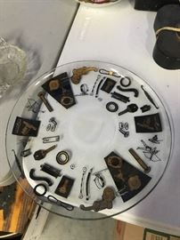 Retro Glass Plate with nuts and bolts on tray