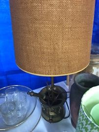 Vintage Metal Pharmacy mortar and Pestle Style lamp with Burlap shade