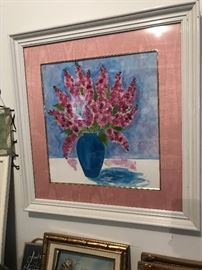 Hand Signed water color by local artist with beadwork