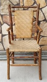 OLD HICKORY arm chair from the historic Leeks Lodge in Jackson, Wyoming.