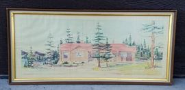 Watercolor architect's rendering of The Canteen at the historic Leeks Lodge in Jackson, Wyoming.