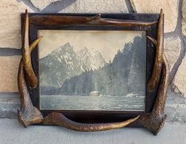 Stephen N. Leek photograph of the Teton Mountains with elk antler points from the historic Leeks Lodge in Jackson, Wyoming.