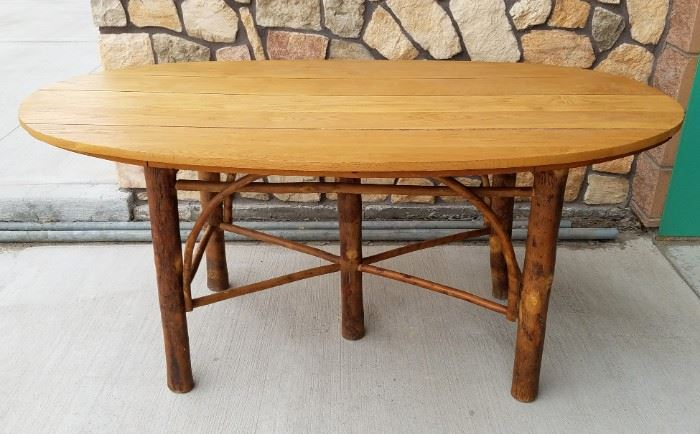 OLD HICKORY dining room table from the historic Leeks Lodge, Jackson, Wyoming.