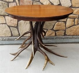 "Vintage 40"" elk antler base table from the historic Leeks Lodge, Jackson, Wyoming"