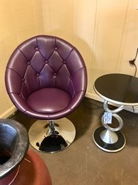 Side Table. Faux Leather Chair