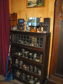 antique lawyers bookcase with leaded glass on top piece