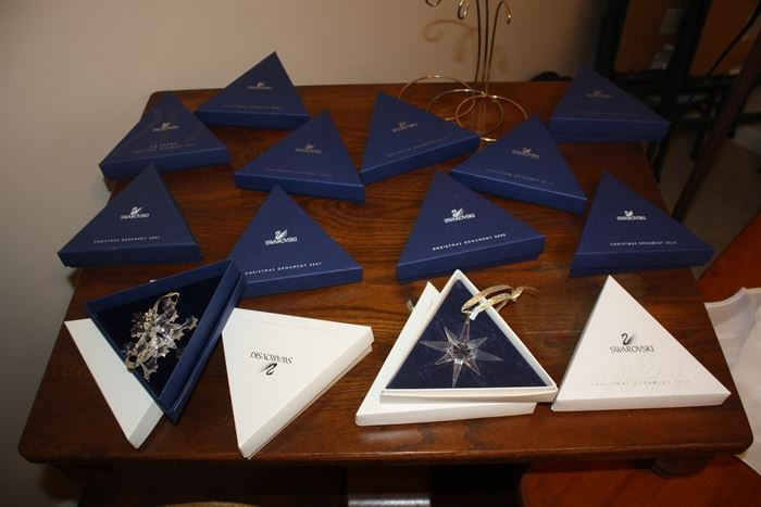 Swarovski Christmas ornaments in original boxes.