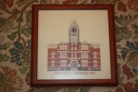 Hand cross stitch of the Henry County Court House.  I'm guessing the pattern is from before 1980.