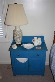 Blue, very old wash stand.  Looks good, condition is good.