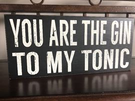 One of many accent pieces through out the house. Catchy phrases on wooden blocks to hang or stand in just the right place