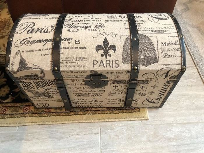 Large fabric covered trunk with a Paris scene