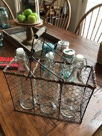 Metslbasket with clear bottles. Ready for your summer pepper sauce