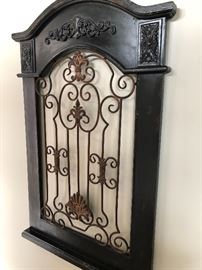 Decorative wood and iron wall hanging