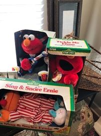 Three collectibles Sesame Street characters. New in box from when they were first produced