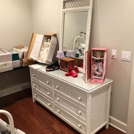 Very well made white wicker dresser with the large mirror to match