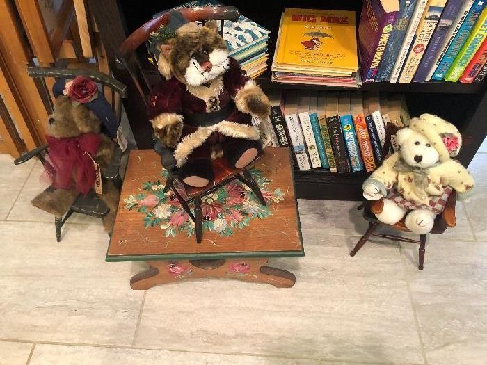 Cute bears sitting in cute miniature chairs