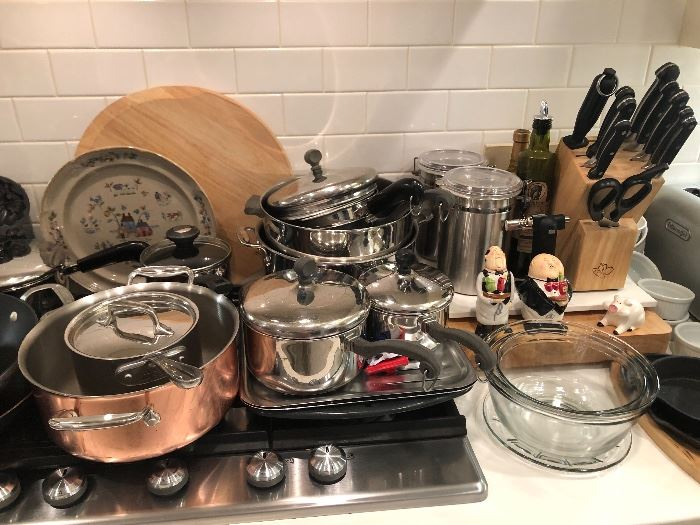 The copper boiler sits next to All-clad pieces and some Paul Reviere pans
