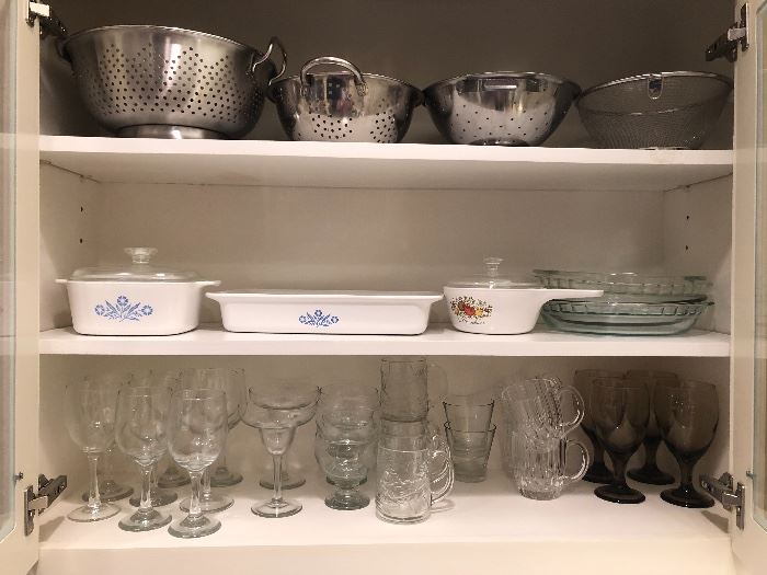 Check out the stainless collanders and the Blue and white  Corning ware
