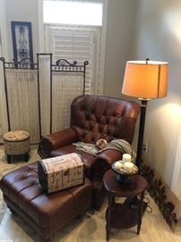 An inviting corner. Metal floor lamp. Mahogany side table. Ball and stick antique dressing screen.