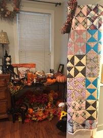 Another view of the fall table and the vintage quilt