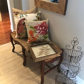 one of two country french benches. gorgeous and timely. a nice wire basket and a beautiful plain wood mirror.