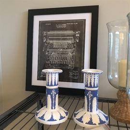 print of a typewriter. pair of great looking reproduction candlesticks
