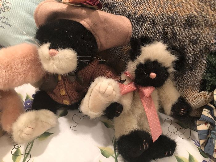 a collection of stuffed kittens waiting to go